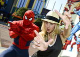 Kaley Cuoco - Hanging with Spiderman at Universal Orlando - Sep 2, 2012 (x3)